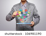 business man use tablet pc with ... | Shutterstock . vector #106981190
