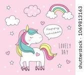 cute roller skater unicorn... | Shutterstock .eps vector #1069813163