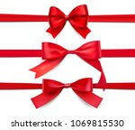 set of wrapped red ribbons.... | Shutterstock .eps vector #1069815530