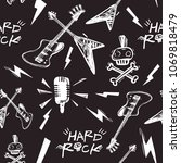 rock and roll seamless pattern... | Shutterstock .eps vector #1069818479