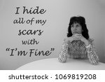 woman looking sad with a saying ... | Shutterstock . vector #1069819208