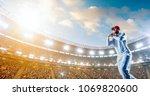 cricket player on a... | Shutterstock . vector #1069820600