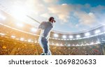 cricket player on a... | Shutterstock . vector #1069820633