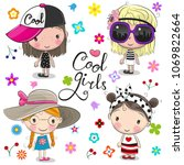 Stock vector four cute cartoon girls on a flowers background 1069822664