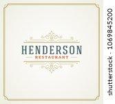 restaurant logo template vector ... | Shutterstock .eps vector #1069845200