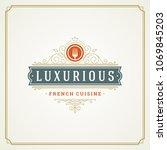 restaurant logo template vector ... | Shutterstock .eps vector #1069845203