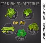top five iron rich vegetables   ... | Shutterstock .eps vector #1069847900