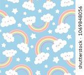 cloud background  rainbow... | Shutterstock .eps vector #1069848056