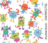 scary monsters. funny cartoon... | Shutterstock .eps vector #1069852736