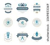 seafood restaurant logos set... | Shutterstock .eps vector #1069853369