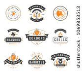 grill restaurant logos and... | Shutterstock .eps vector #1069853513