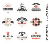 butcher shop logos set vector... | Shutterstock .eps vector #1069855538