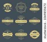 wedding logos and badges vector ...   Shutterstock .eps vector #1069855673