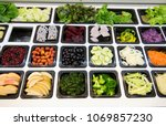 salad bar with various fresh... | Shutterstock . vector #1069857230