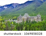 View of luxurious Banff Fairmont Springs Hotel is an historic landmark in Banff National Park, Alberta, Canada.