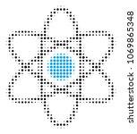 atom halftone vector pictogram. ... | Shutterstock .eps vector #1069865348