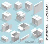 isometric vector cardboard... | Shutterstock .eps vector #1069865654