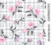 beautiful flowers pattern on... | Shutterstock .eps vector #1069869293