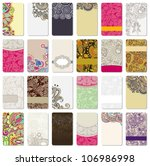 collection of colorful floral ornamental business card element | Shutterstock vector #106986998