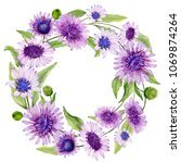 round floral border. beautiful... | Shutterstock . vector #1069874264