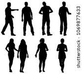 black silhouette group of... | Shutterstock .eps vector #1069877633
