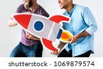 Small photo of People holding rocketship icon