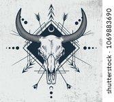 bull skull in engraving graphic ... | Shutterstock .eps vector #1069883690