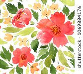 seamless watercolor floral... | Shutterstock . vector #1069884176