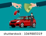 the car dealer's hand make an... | Shutterstock .eps vector #1069885319