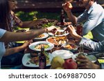 people are eating on vacation.... | Shutterstock . vector #1069887050