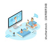 online education concept.... | Shutterstock .eps vector #1069889348