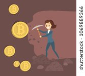 mining the bitcoin. woman with... | Shutterstock .eps vector #1069889366