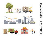 juice factory set with harvest... | Shutterstock .eps vector #1069890263