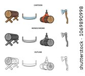 log on supports  two hand saw ...   Shutterstock .eps vector #1069890998