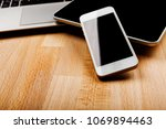 keyboard with phone and tablet... | Shutterstock . vector #1069894463