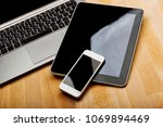 keyboard with phone and tablet... | Shutterstock . vector #1069894469