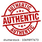 authentic round red grunge stamp | Shutterstock .eps vector #1069897673