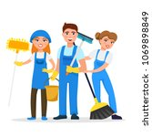 cleaning service staff smiling... | Shutterstock .eps vector #1069898849