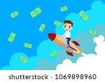a man riding a rocket to sky... | Shutterstock .eps vector #1069898960