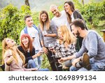 happy friends having fun... | Shutterstock . vector #1069899134