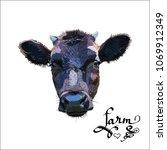 cow calf brown  vector   Shutterstock .eps vector #1069912349