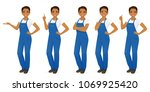 woman in overalls set | Shutterstock .eps vector #1069925420