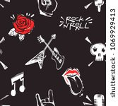 rock and roll seamless pattern... | Shutterstock .eps vector #1069929413