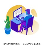 man working on computer. vector ... | Shutterstock .eps vector #1069931156
