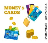 set of colorful credit cards...   Shutterstock .eps vector #1069934816