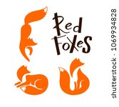 set of red foxes sitting and... | Shutterstock .eps vector #1069934828