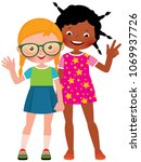girl friends caucasian and... | Shutterstock .eps vector #1069937726
