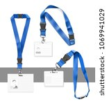 set of lanyards with id card.... | Shutterstock .eps vector #1069941029