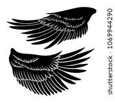 eagle wing silhouettes. vector... | Shutterstock .eps vector #1069944290