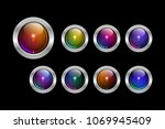 vector eps 10 round silver... | Shutterstock .eps vector #1069945409
